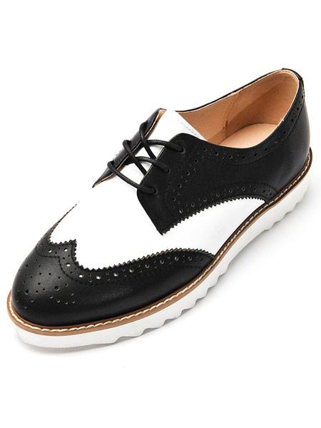爱克佩特鞋帽/领带品牌2019春夏新款真皮休闲圆头平跟女鞋