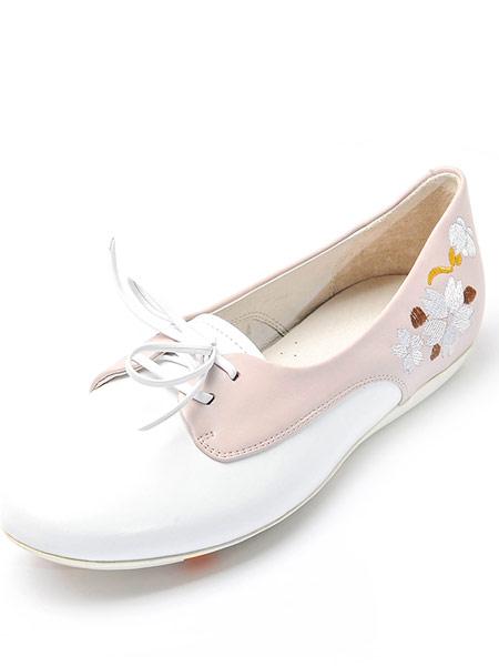 Nat-2鞋帽/领带品牌2019春夏新款平跟女鞋牛皮圆头低帮浅口时尚百搭女单鞋