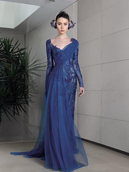 Brian Reyes布赖恩·雷耶斯女装品牌2019春夏新款晚礼服蓝色长袖鱼尾晚礼年会主持人酒会服装演出走秀服