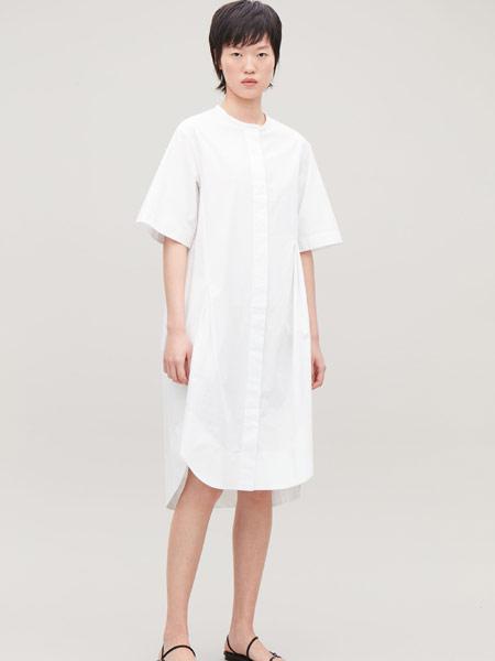 Beams Boy女装品牌2019春夏新款白色立领打结设计短袖衬衫连衣裙