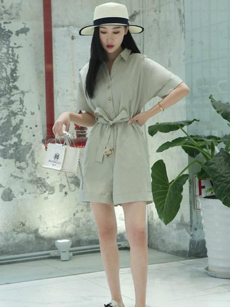 艺�d女装女装品牌2019春夏新款韩版高腰纯色连体裤休闲短裤