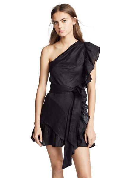 Matchless London女装品牌2019春夏新款荷叶边连衣裙露肩修身连衣裙