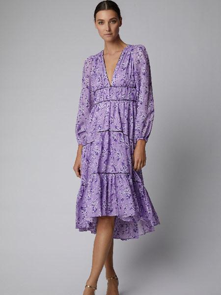 Matchless London女装品牌2019春夏新款V领花卉印花中长连衣裙