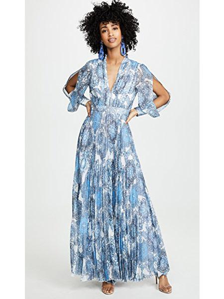 Matchless London女装品牌2019春夏新款时尚优雅v领连衣裙