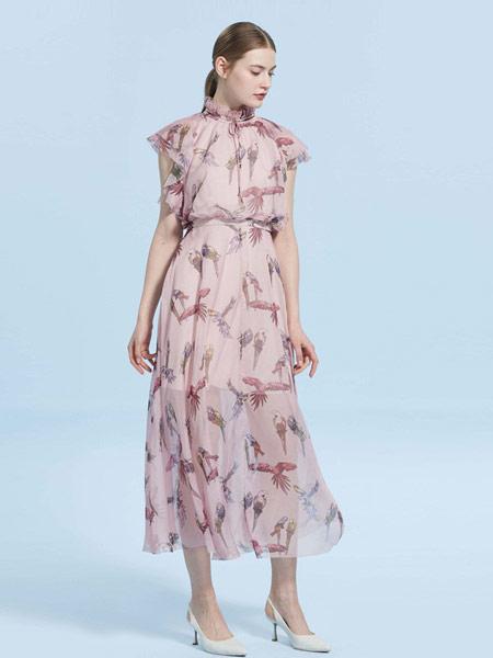 CAROLINE卡洛琳女装品牌2019春夏新款高腰荷叶边袖系带连衣长裙