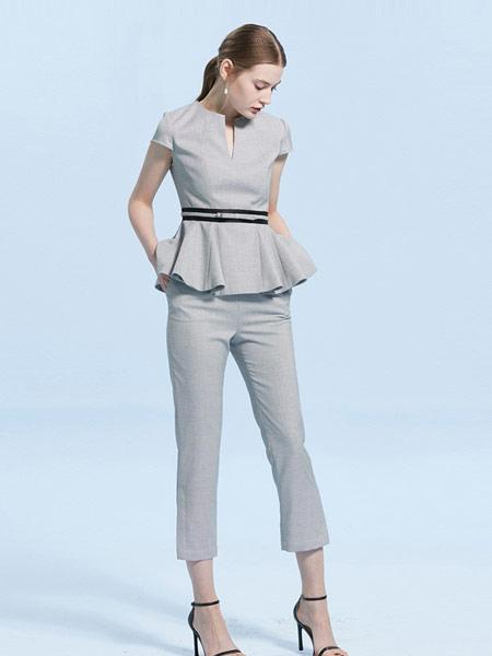 CAROLINE卡洛琳女装品牌2019春夏新款职业套装通勤开叉九分裤