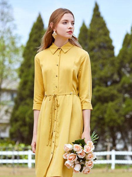 拉夏贝尔女装品牌2019春夏新款法式时尚收腰a字裙子气质纯色衬衫连衣裙