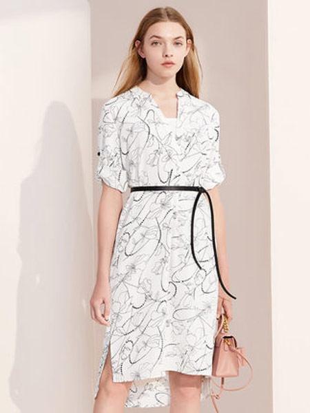 拉夏贝尔女装品牌2019春夏新款宽松收腰v领雪纺气质印花连衣裙