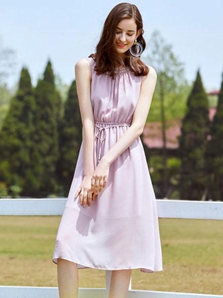 拉夏贝尔女装品牌2019春夏新款法式时尚中长款雪纺a字裙连衣裙超仙甜美