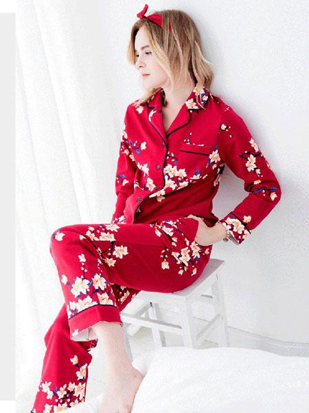 三耳兔内衣品牌2019春夏红色家居服长袖纯棉套装
