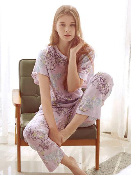 三耳兔内衣品牌2019春夏短袖长裤纯棉套装薄款半袖甜美家居服