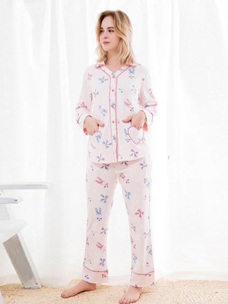 三耳兔内衣品牌2019春夏长袖长裤两件套装可出门家居服休闲睡裤