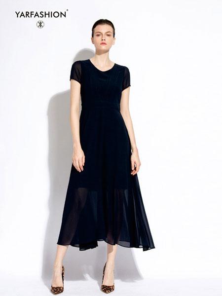 雅风轩女装品牌2019春夏欧美范黑色修身长款连衣裙