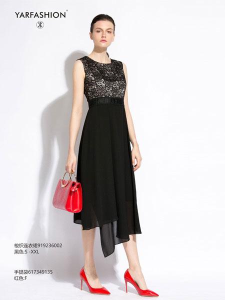 雅风轩女装品牌2019春夏蕾丝拼雪纺裙摆连衣裙修身显瘦无袖