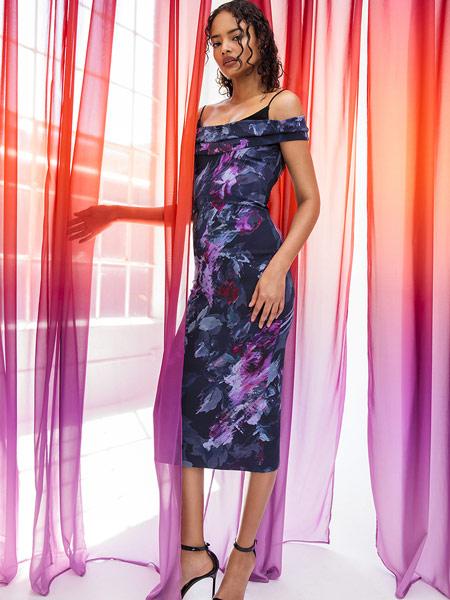 芮瑟芙女装品牌2019春夏新款时尚气质修身显瘦复古印花礼服裙