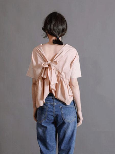 齐�K女装品牌2019春夏新款式优雅后背蝴蝶结绑带圆领短袖纯色T恤上衣