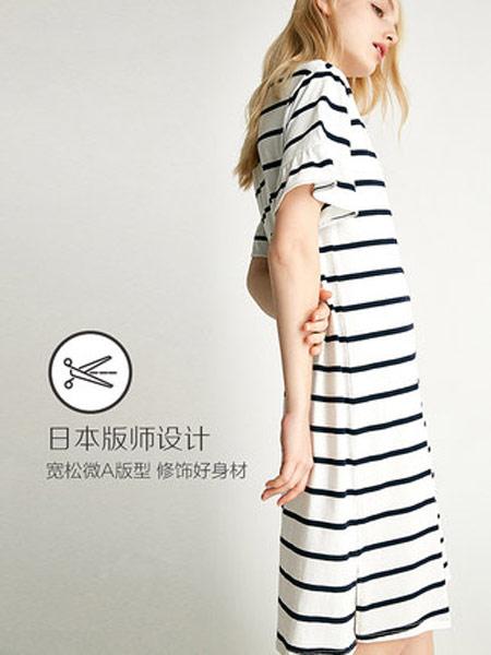红豆居家内衣品牌2019春夏新款时尚条纹短袖薄款全棉家居服