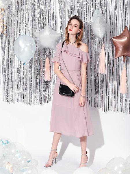 SASLAX莎斯莱思女装品牌2019春夏新款韩版气质淑女露肩收腰短袖中长款雪纺连衣裙