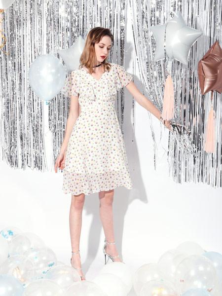 SASLAX莎斯莱思女装品牌2019春夏新款清新v领收腰复古温柔裙中长款超仙雪纺裙