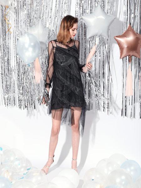 SASLAX莎斯莱思女装品牌2019春夏新款印花不规则网纱连衣裙两件套