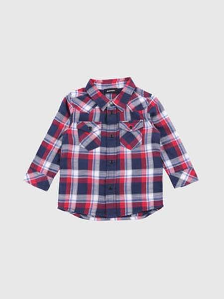 Baby Milo童装品牌2019春夏新款韩版时尚百搭格子翻领衬衫