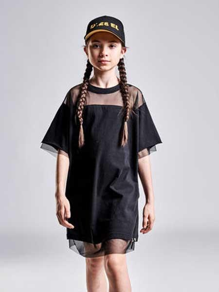 Diesel Kids迪赛童装童装品牌2019春夏新款时尚修身显瘦短袖连衣裙