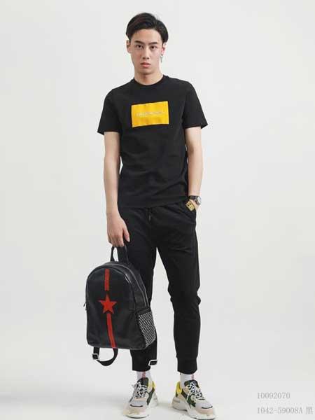 部落本色 GF男装品牌2019春夏新款韩版时尚潮流个性图案圆领短袖T恤