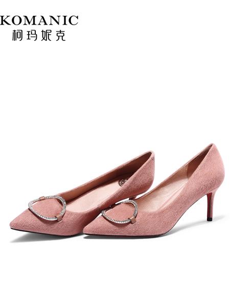 柯玛妮克鞋帽/领带品牌2019春夏新款女鞋子 水钻单鞋尖头粉色高跟鞋细跟淑女鞋