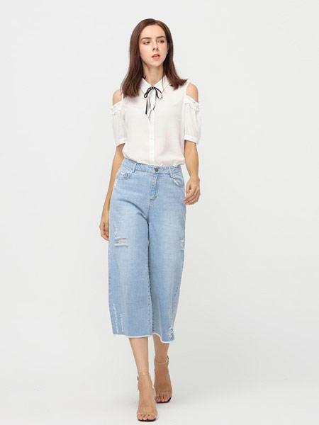 拍普儿女装品牌2019春夏新款蕾丝花边翻领露肩荷叶短袖系带衬衫