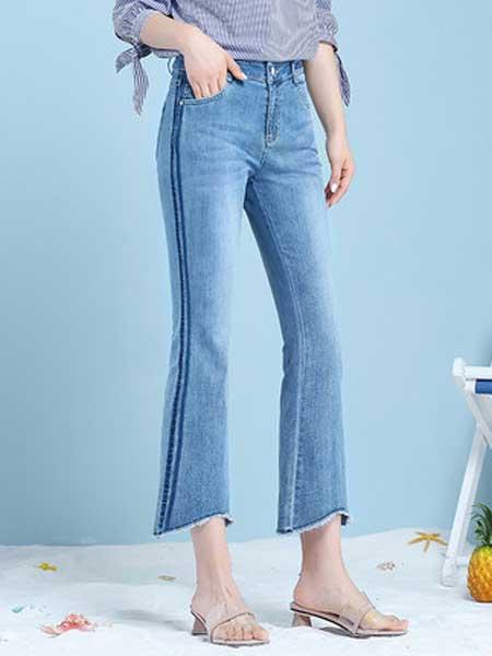梦舒雅 msuya牛仔品牌2019春夏新款薄款高腰弹力浅色牛仔裤坠感微喇裤小个子