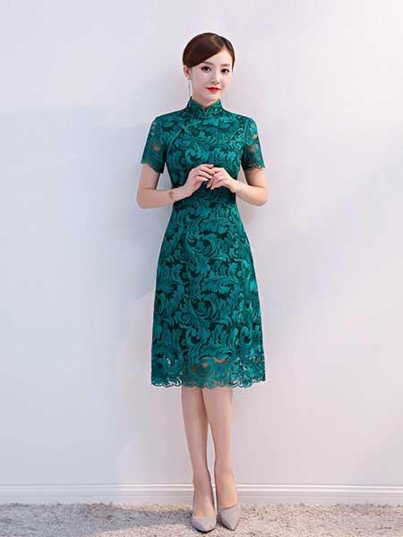 依琳勒芙女装品牌2019春夏新款蕾丝时尚改良中长款旗袍连衣裙