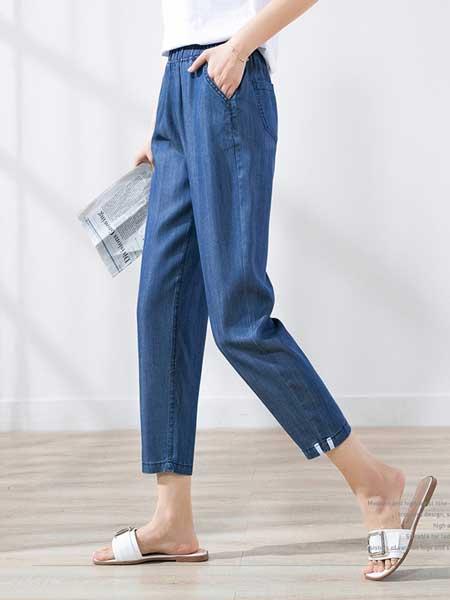 戈洛瑞丝女装品牌2019春夏新款薄款九分裤松紧腰小脚裤子女萝卜裤