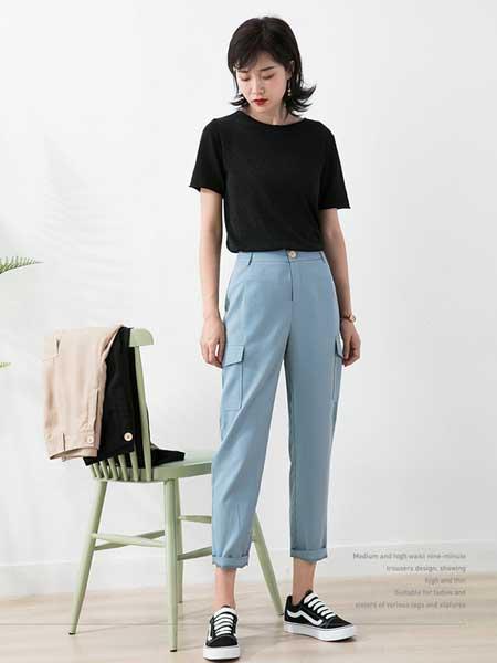 戈洛瑞丝女装品牌2019春夏新款网红奶奶裤bf高腰直筒裤工装裤女宽松休闲裤子薄款