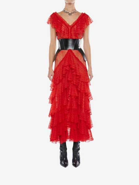 Alexander McQueen(亚历山大·麦昆)女装品牌2019春夏新款时尚收腰显瘦连衣裙