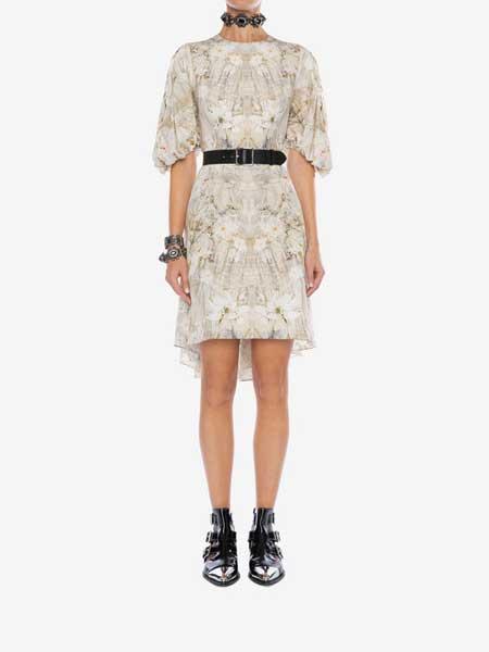 Alexander McQueen(亚历山大·麦昆)女装品牌2019春夏新款时尚印花宽松短袖收腰连衣裙