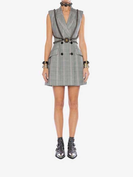 Alexander McQueen(亚历山大·麦昆)女装品牌2019春夏新款修身包臀双排扣西服无袖连衣短裙