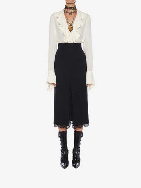 LOGIC&EMOTIONS洛亦女装品牌2019春夏新款名媛气质长袖V领衬衫+蕾丝开叉半裙套装