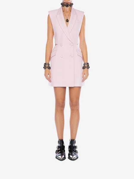 LOGIC&EMOTIONS洛亦女装品牌2019春夏新款欧美简约粉色西装马甲无袖两穿连衣裙显瘦A字裙