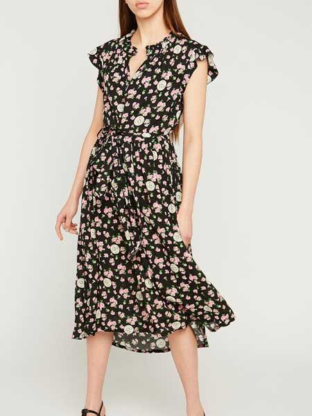 Barbara Tfank芭芭拉·范可女装品牌2019春夏新款气质收腰显瘦小清新碎花雪纺连衣裙