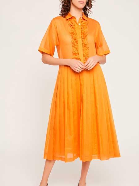 Barbara Tfank芭芭拉·范可女装品牌2019春夏新款时尚文艺五分袖立领宽松长款A字裙子