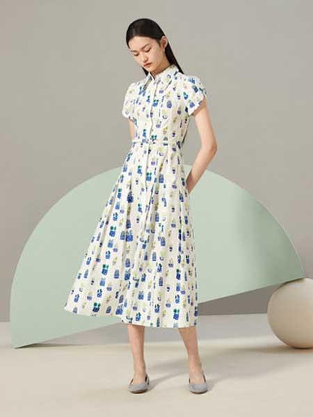 OVV女装品牌2019春夏新款简约时尚收腰印花短袖连衣裙