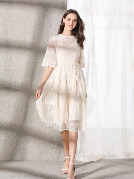 熙加女装品牌2019春夏系带中长款气质连衣裙