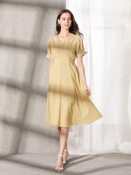熙加女装品牌2019春夏简约V领收腰显瘦连衣裙时尚气质复古雪纺
