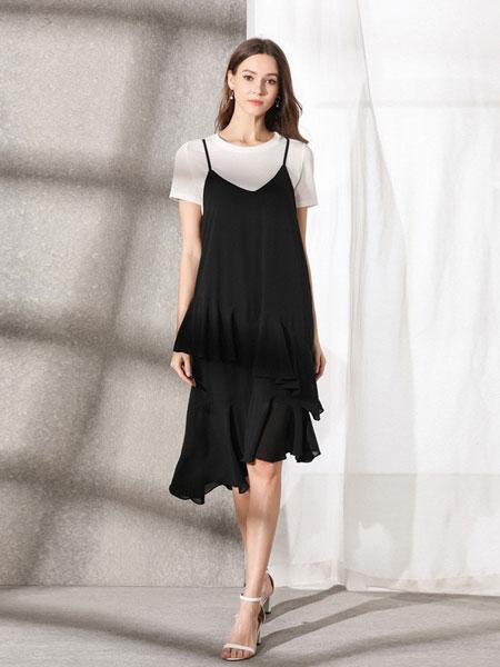 熙加女装品牌2019春夏新款V领不规则黑色雪纺吊带裙荷叶边连衣裙