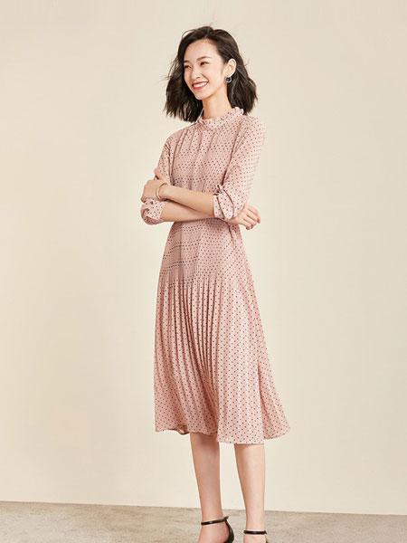 梵希蔓女装品牌2019春夏新款波点雪纺连衣裙中长款气质