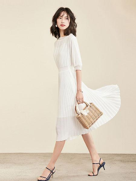 梵希蔓女装品牌2019春夏五分袖中长款两件套白色雪纺连衣裙