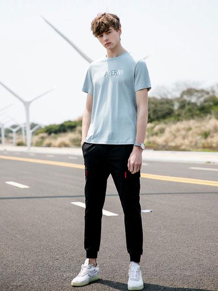 woog2005男装品牌2019春夏浅蓝色简约潮流修身半袖T恤
