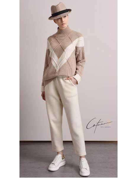 凯妃米儿女装品牌新款韩版百搭宽松慵懒风针织打底衫