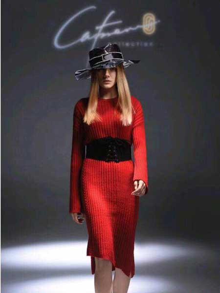 凯妃米儿女装品牌新款气质针织显瘦连衣裙