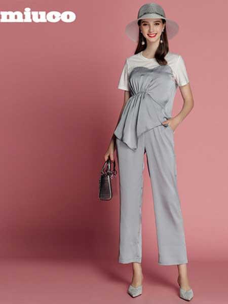 缪可 - MIUCO女装品牌2019春夏新款时尚T恤拼接不规则上衣+高腰直筒裤套装两件套洋气